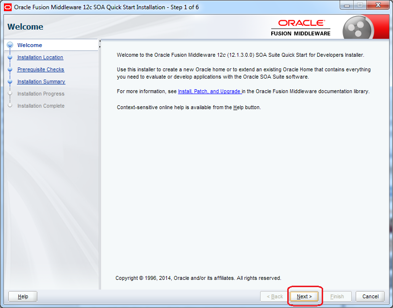 6_SOA_12c_Installation_steps_quick_wizard_step_1