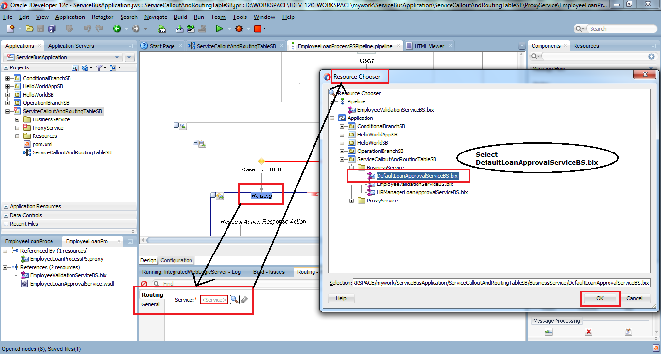 43_OSB-12c_Service_Callout_and_Routing_Table_example_drag_drop_Routing_Table_set_Routing_for_Case_1