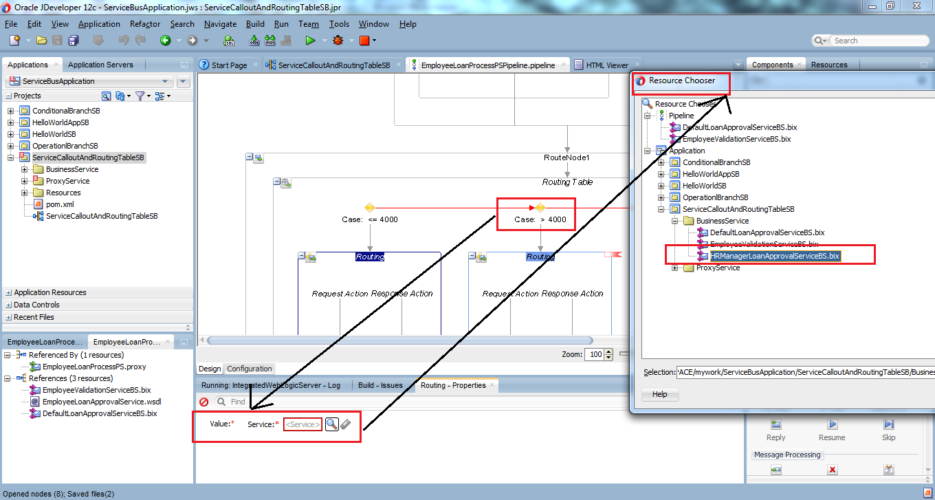 45_OSB-12c_Service_Callout_and_Routing_Table_example_drag_drop_Routing_Table_set_Routing_for_Case_2