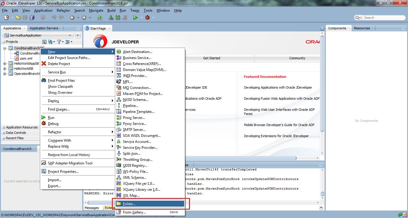 4_OSB-12c_Conditional_Branch_example_New_Project_create_folder