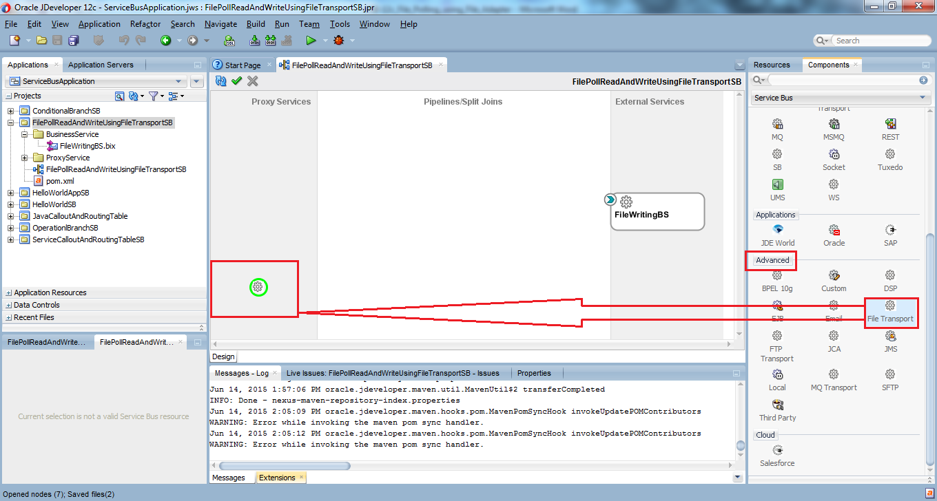 13_OSB-12c_File_Polling_Reading_Writing_using_File_Transport_drag_drop_file_transport_to_Proxy_Services