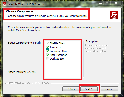 4_FileZilla_Client_to_access_Local_FTP_Server_on_Windows_7_machine_choose_components