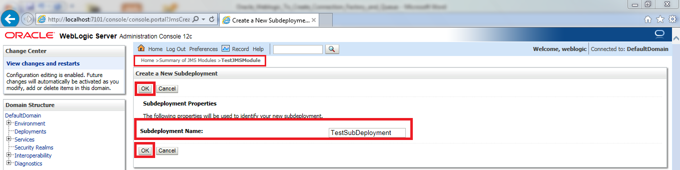 16_Oracle_Weblogic_To_Create_Connection_Factory_and_Queue_create_new_subdeployment_a