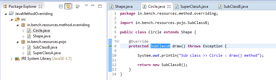 9_Method_Overriding_Instance_method_for_return_type_in_sub_class