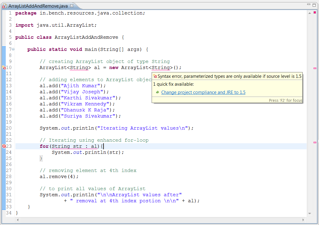 Java compiler compliance level issue in Eclipse IDE