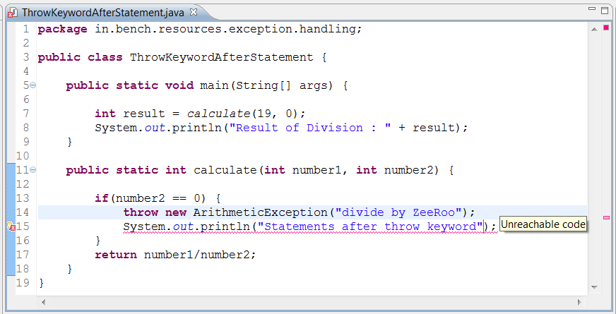 Exception handling in java with examples.