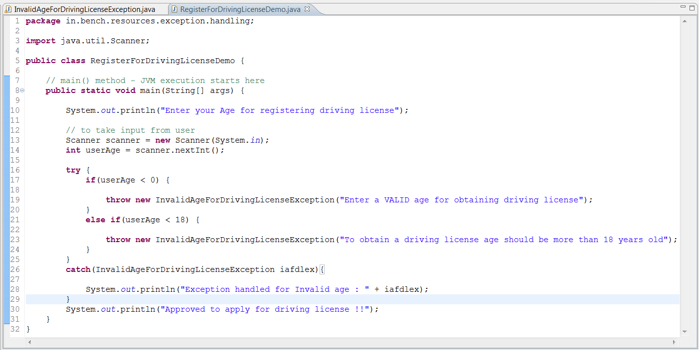User-defined Exception or Custom Exception in Java - BenchResources Net