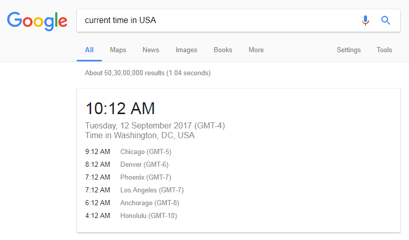 How To Check Current Time In Google Of Any Country - Current time in usa