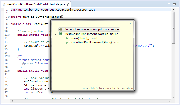 How to locate methods in Java file in Eclipse IDE